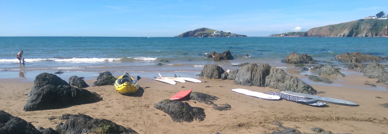 Watersports at Bantham - Burgh Island in the background
